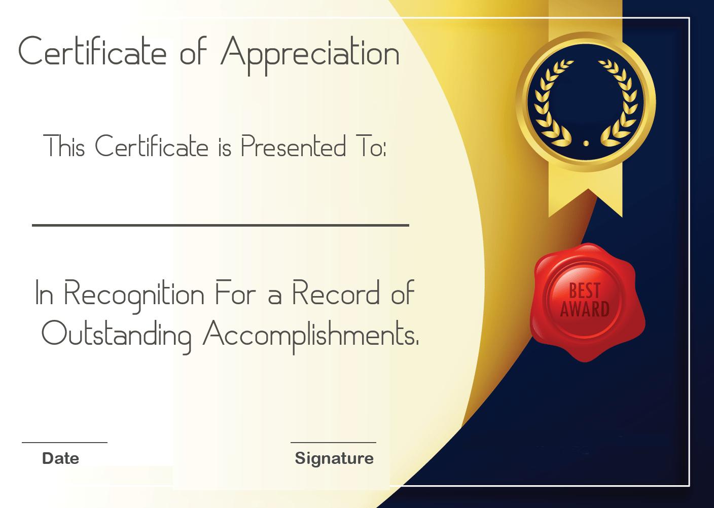 Volunteer Certificate of Appreciation