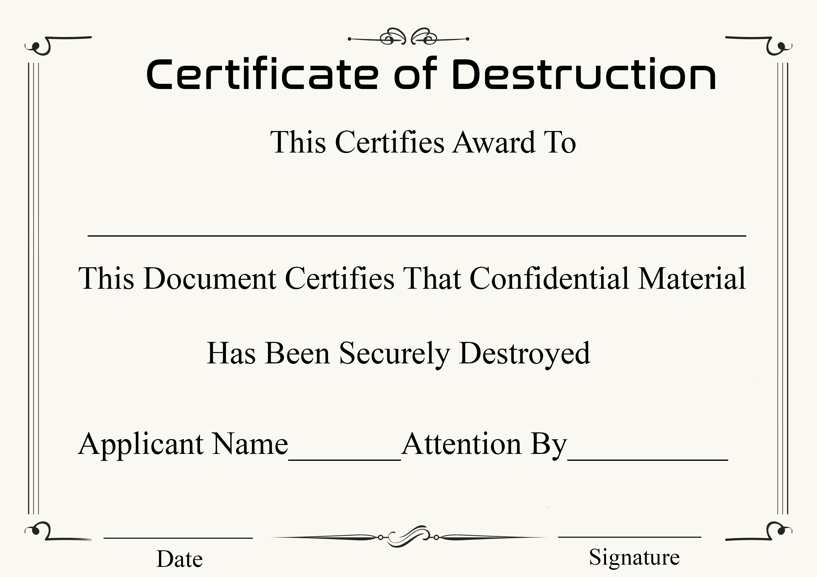 Certificate of Destruction Template