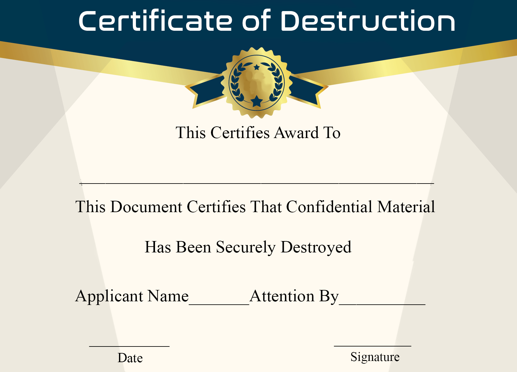 Certificate of Destruction Sample