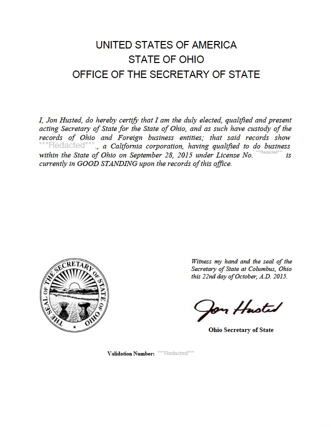 certificate of good standing California
