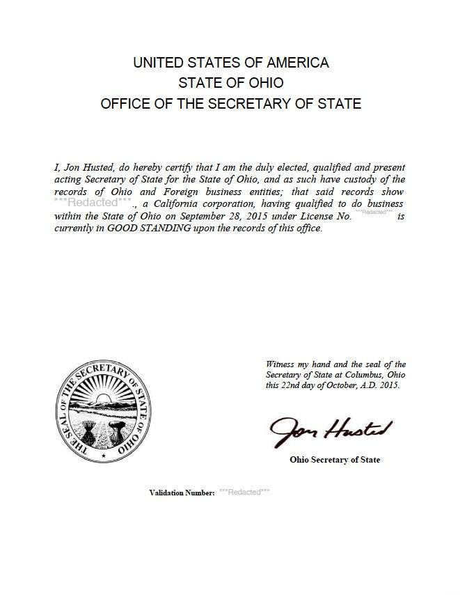 Certificate Of Good Standing Certificate Of