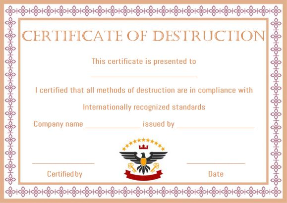 What is Certificate of Destruction