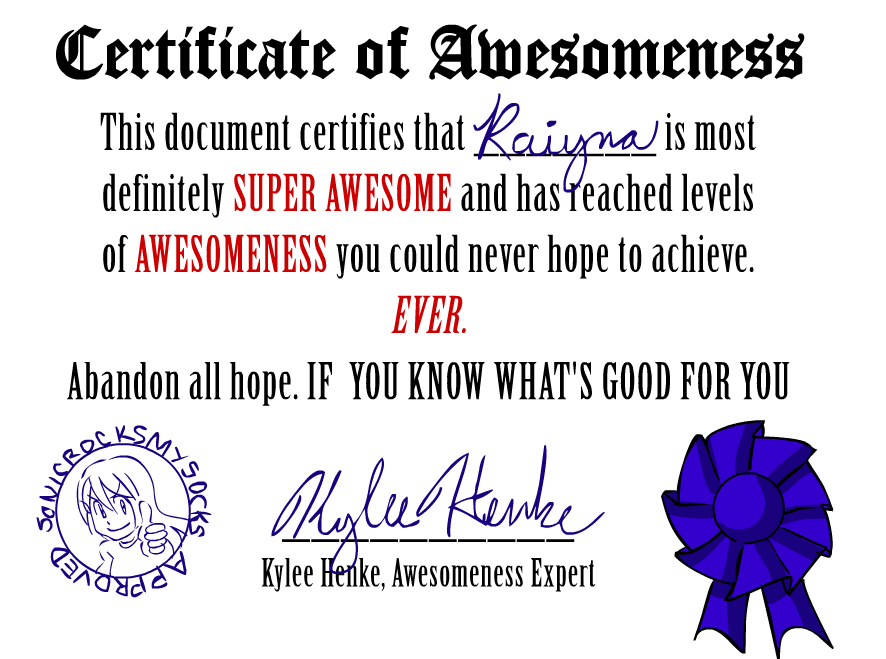 What is Certificate of Awesomeness