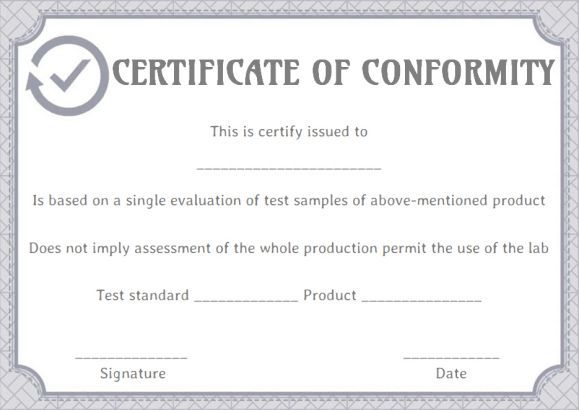 Certificate Of Conformity Certificate Of