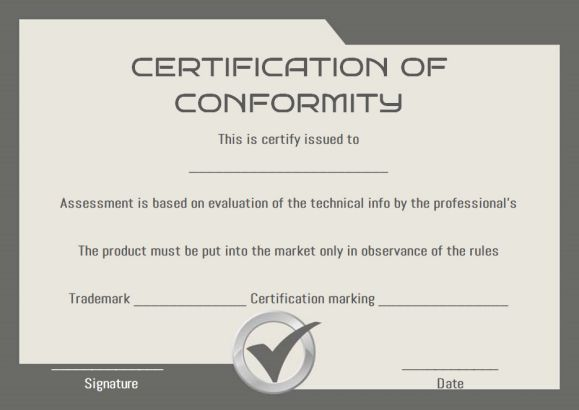 COC Certificate of Conformity