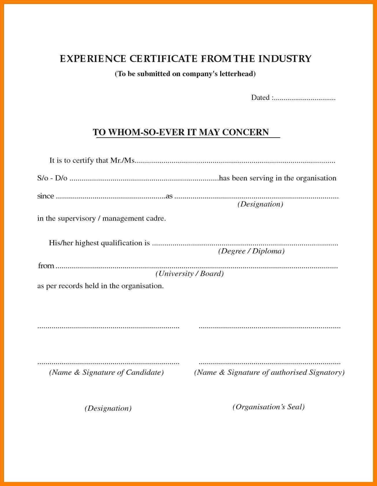 Certificate of Experience Letter