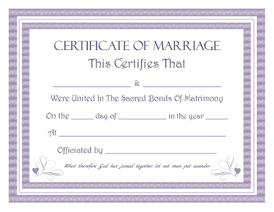 Certificate of Marriage Registration