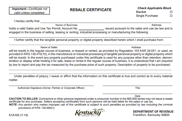 Certificate of Resale | Certificate Of