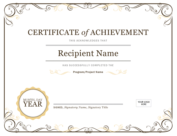 Free printable certificate of achievement blank templates.