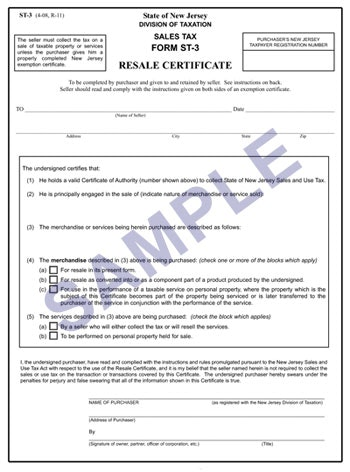 Certificate of Resale Sample