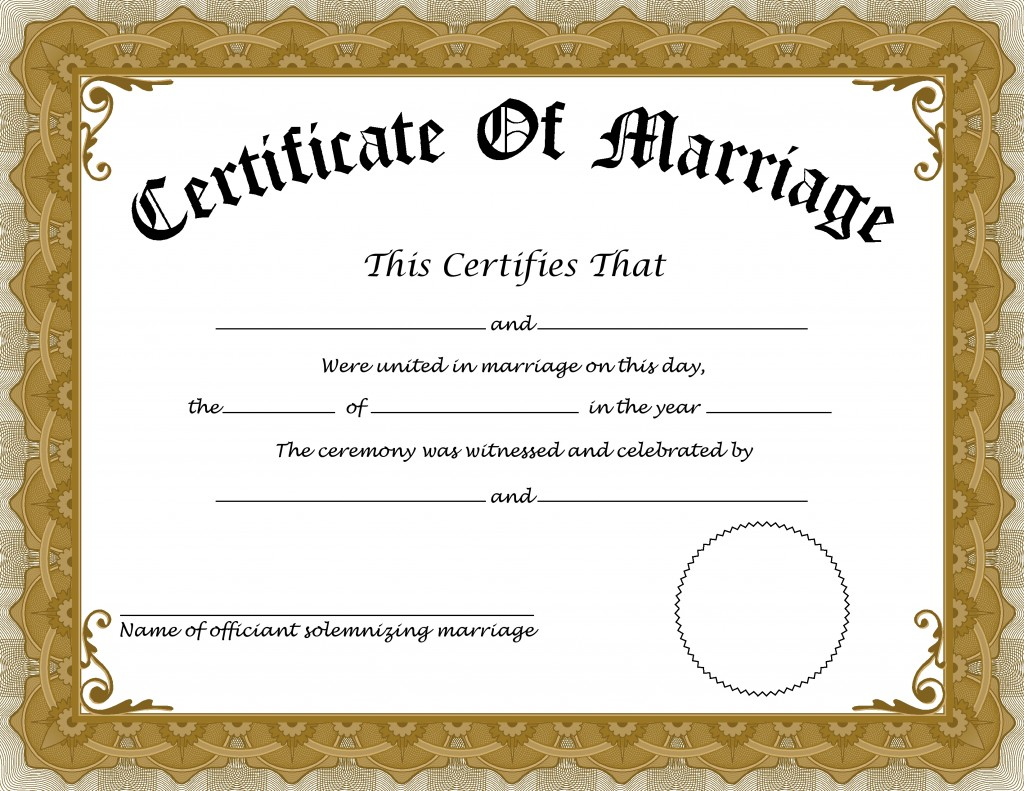 Certificate Of Marriage Certificate Of