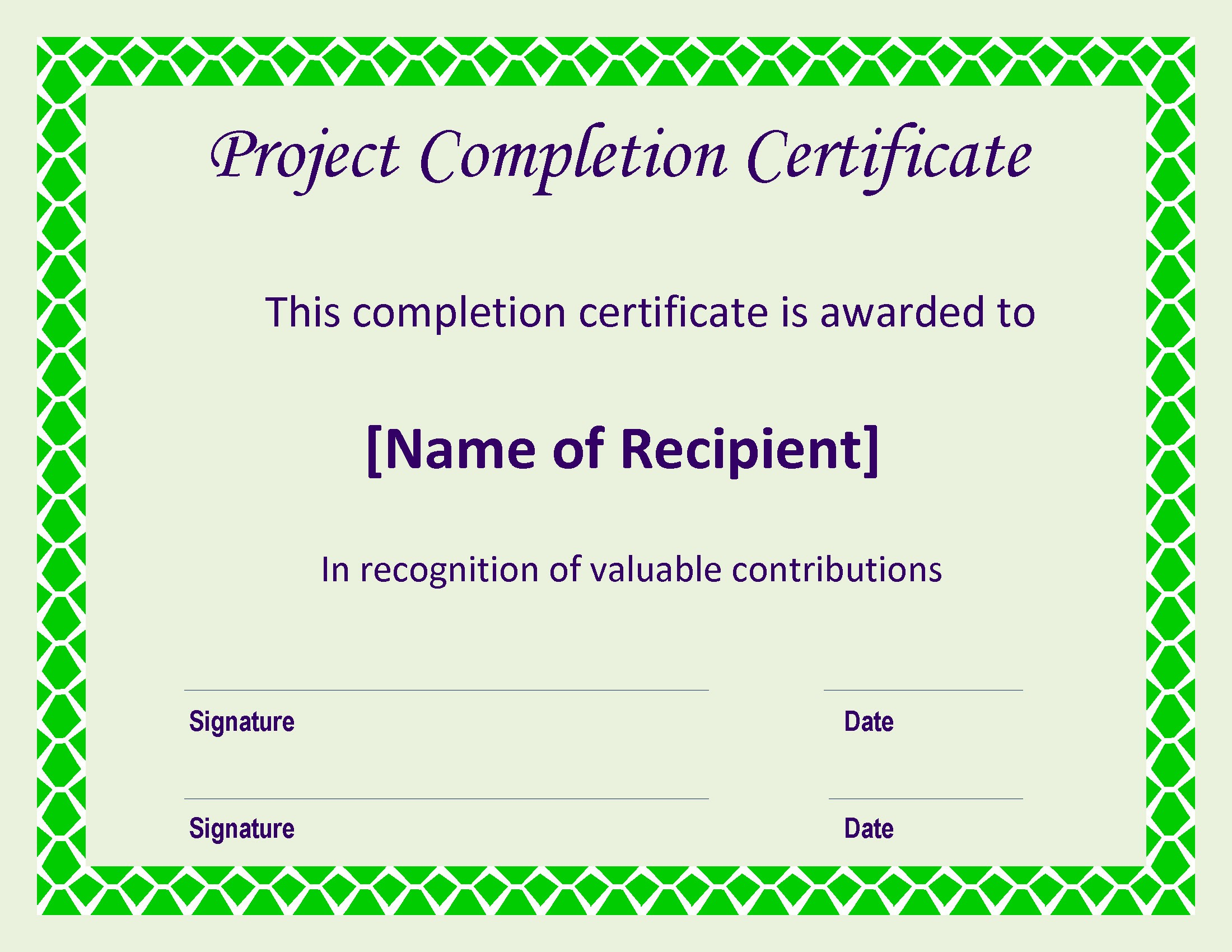 Certificate Of Project Certificate Of