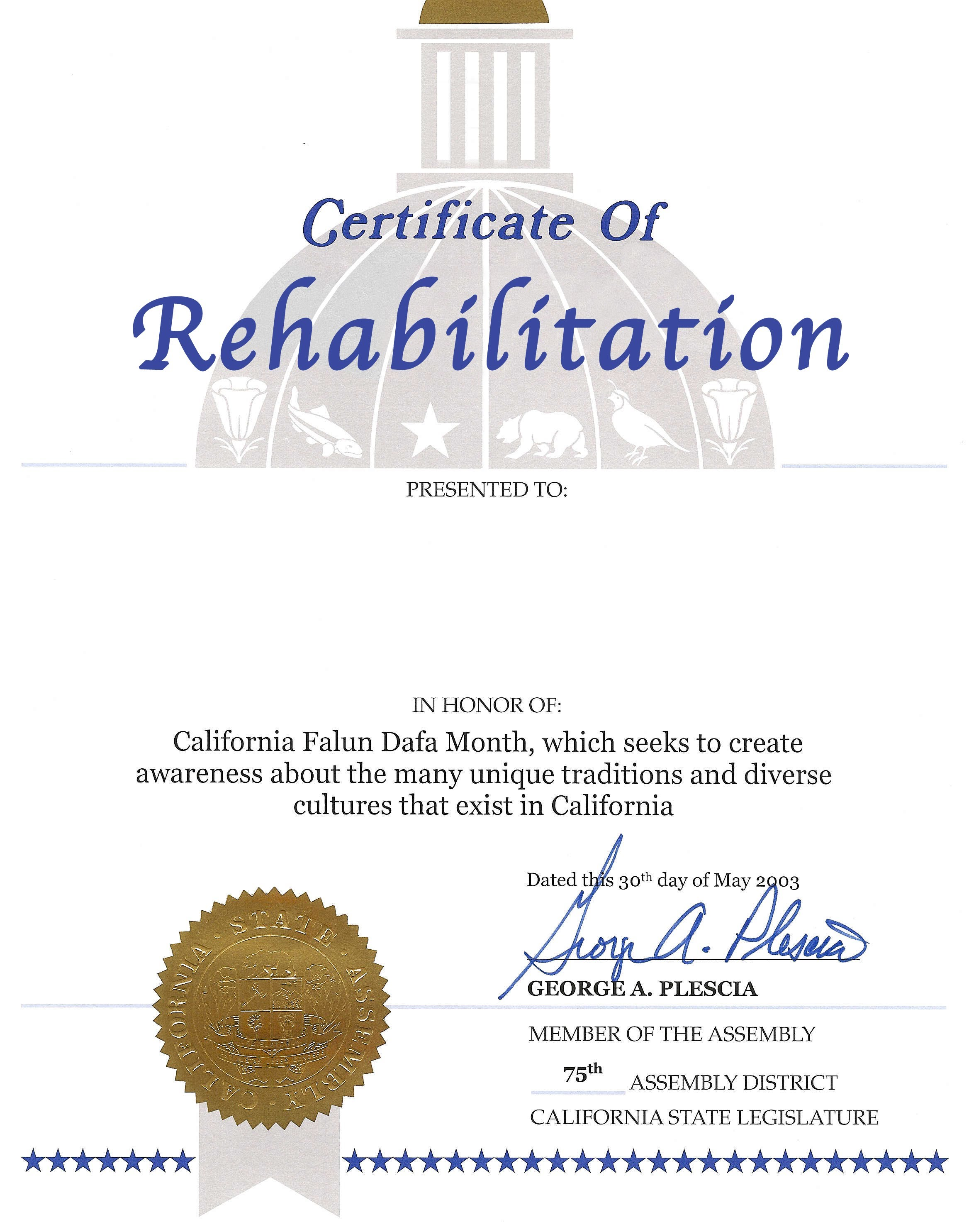 Certificate Of Rehabilitation Certificate Of