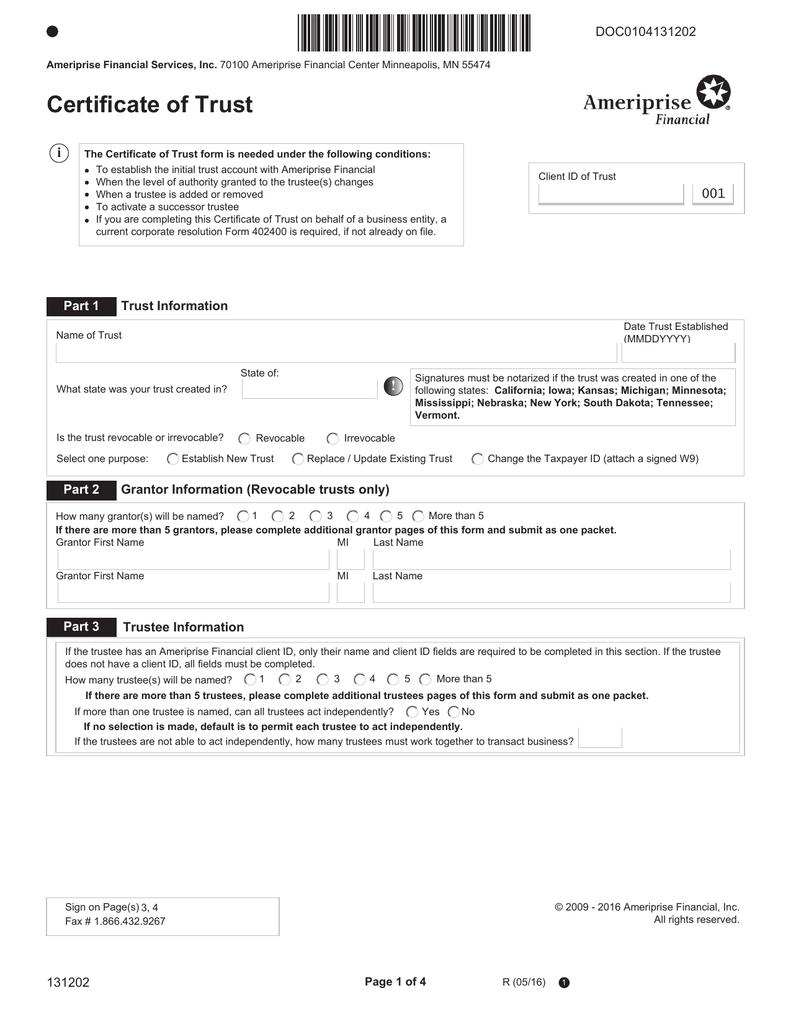 Certificate of Trust Form