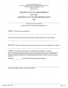 Certificate of Amendment NY