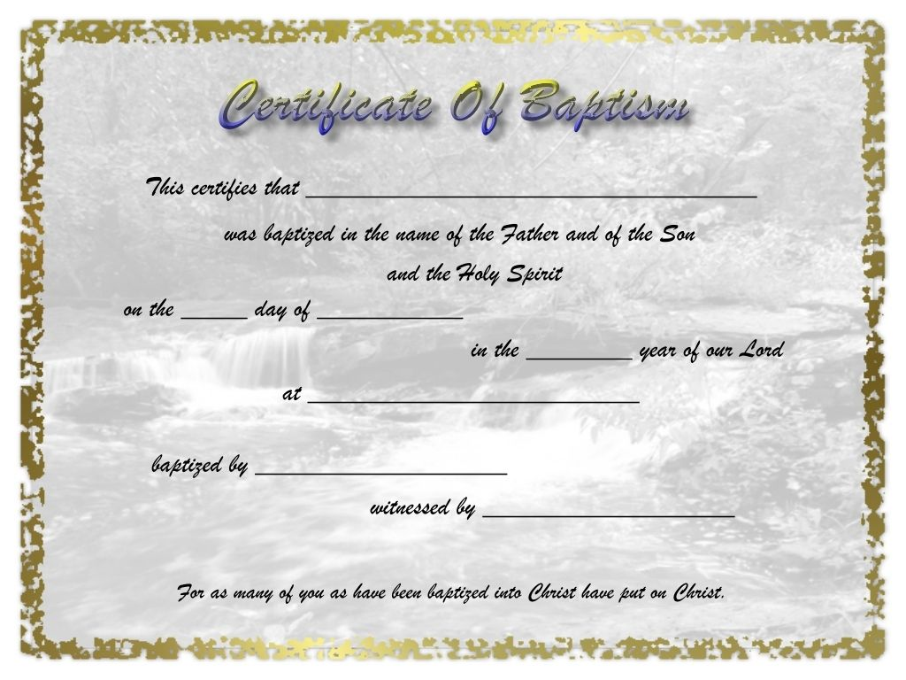 Free Printable Certificate Of Baptism Certificate Of