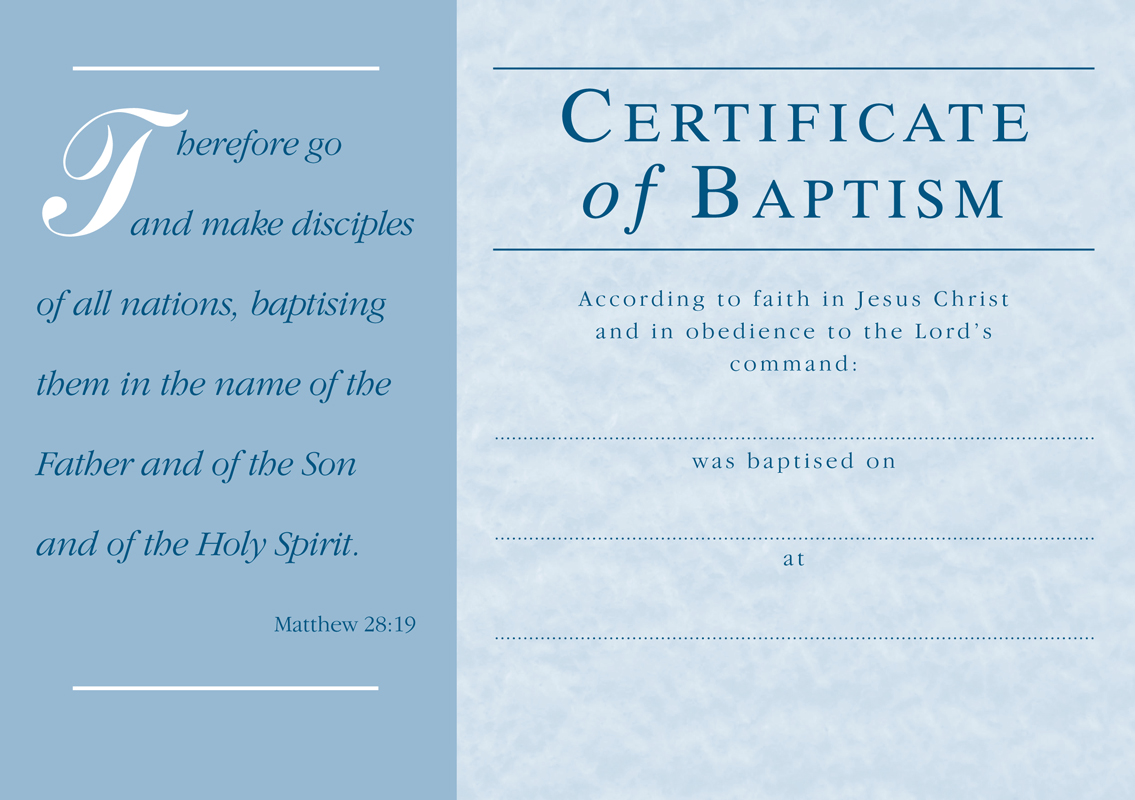 Certificate of Baptism Samples