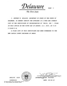 Certificate of Incumbency Delaware