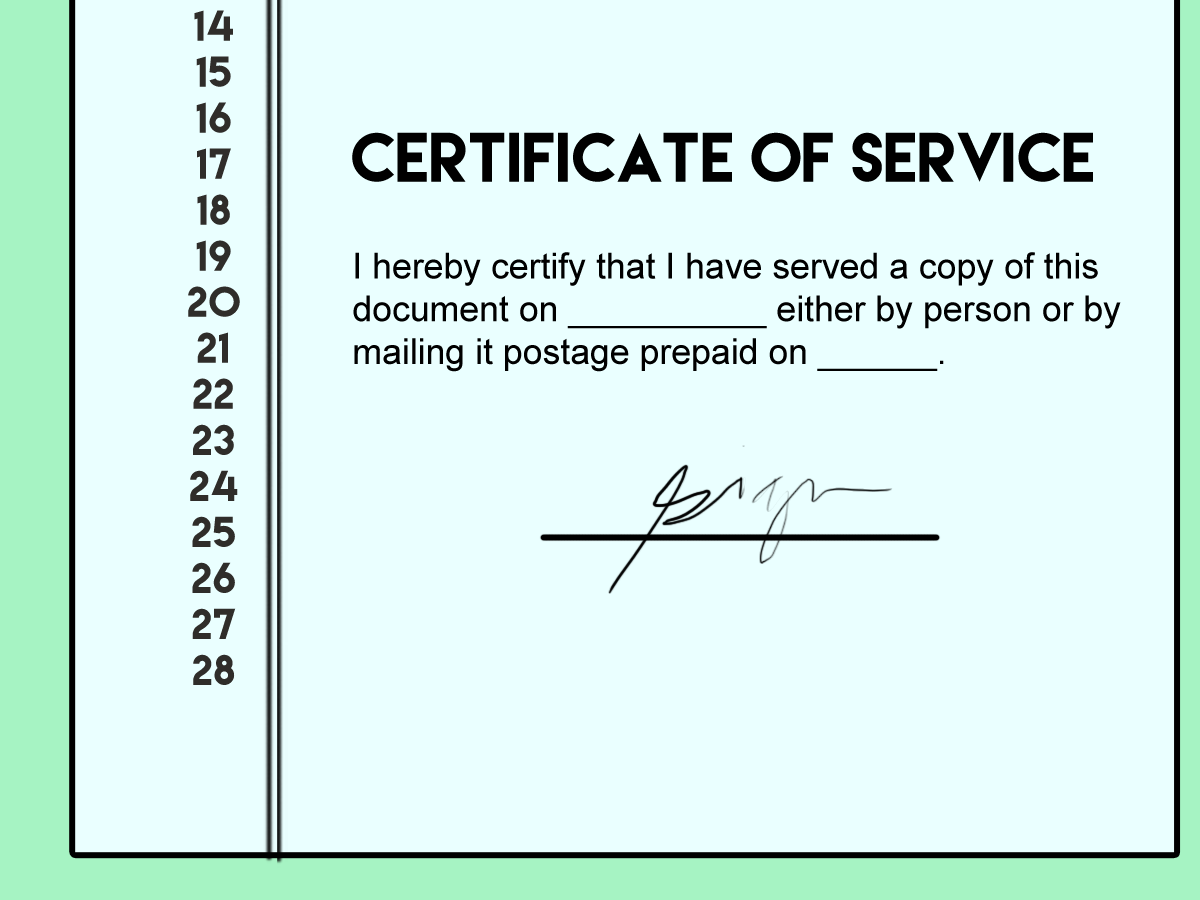 Certificate of Service Format
