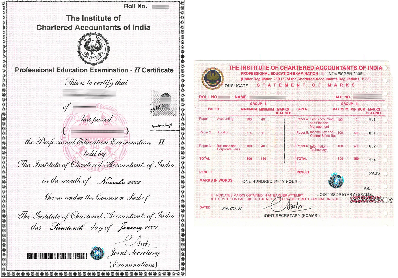 Certificate of Service ICAI