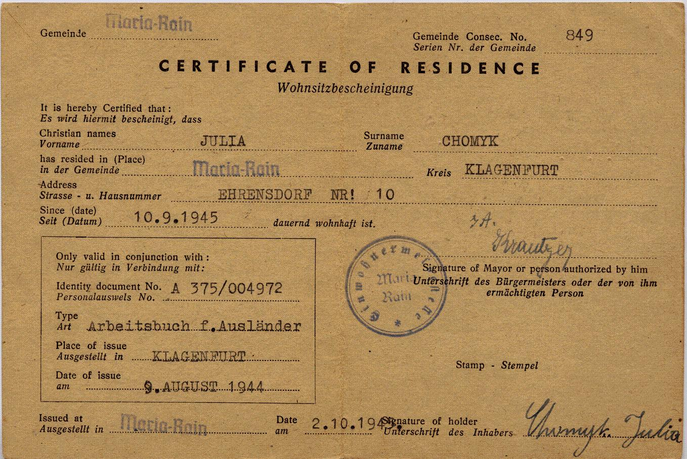 Certificate Of Residence Certificate Of