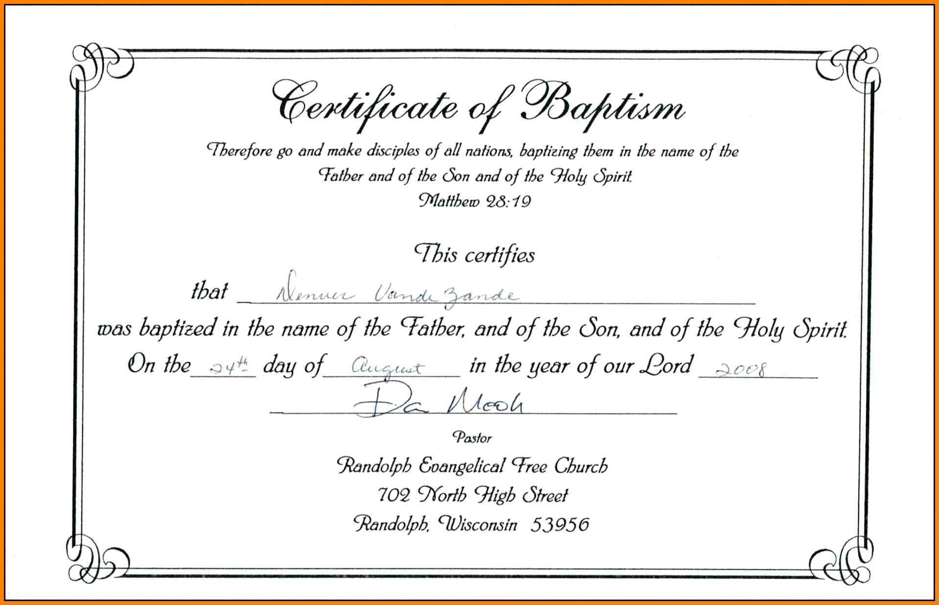picture regarding Free Printable Baptism Certificates titled No cost Pattern Certification Of Baptism variety Template