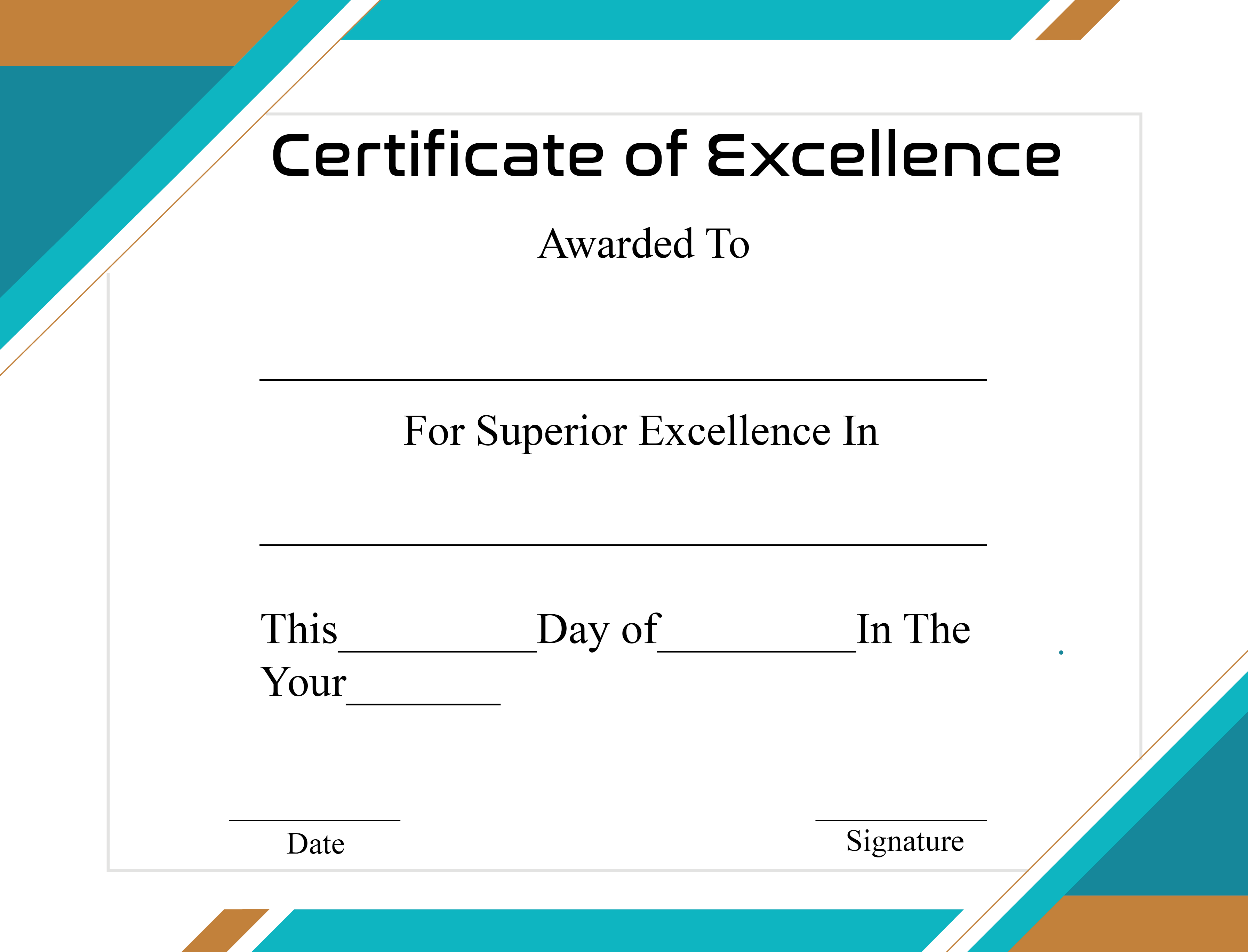 Certificate of Excellence Format