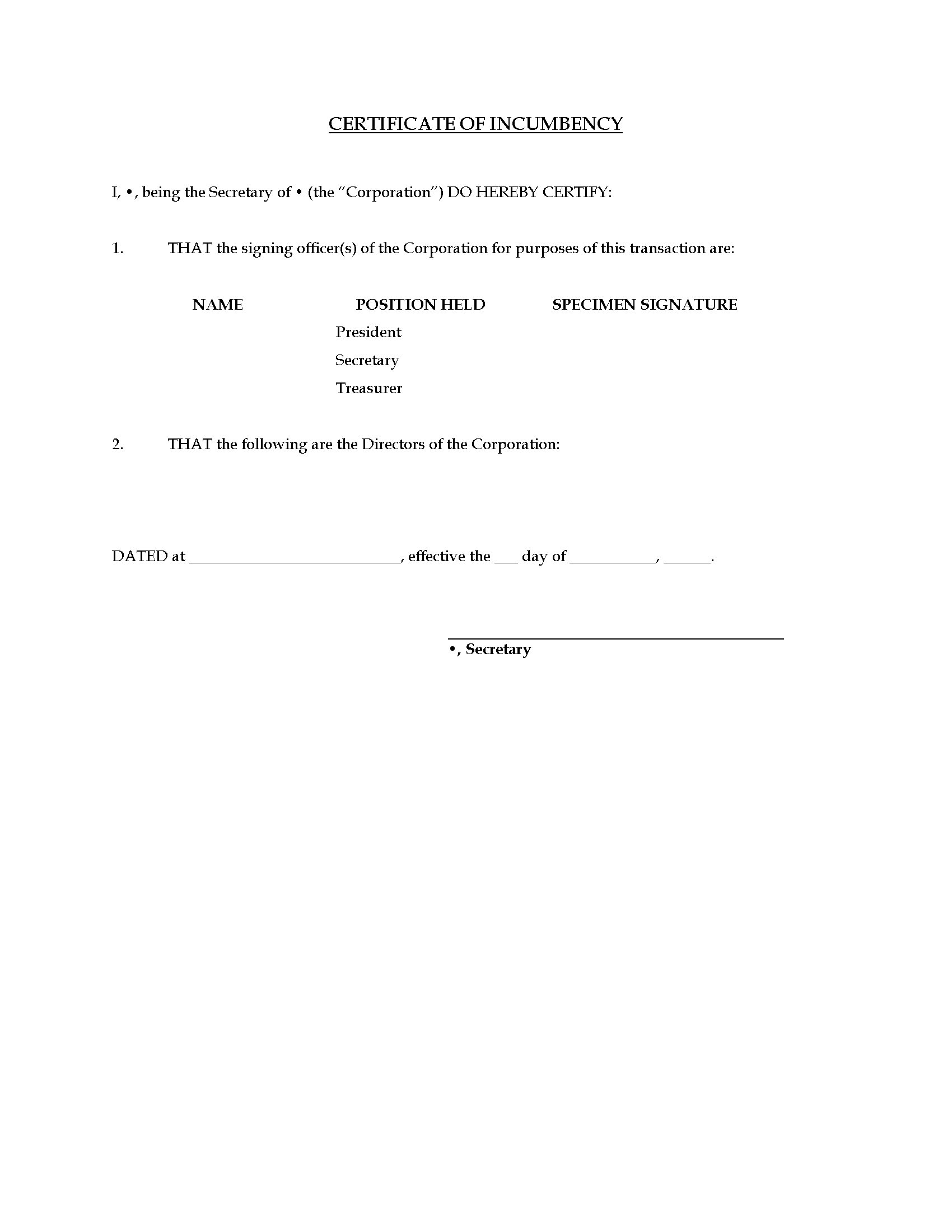 Certificate of Incumbency Template