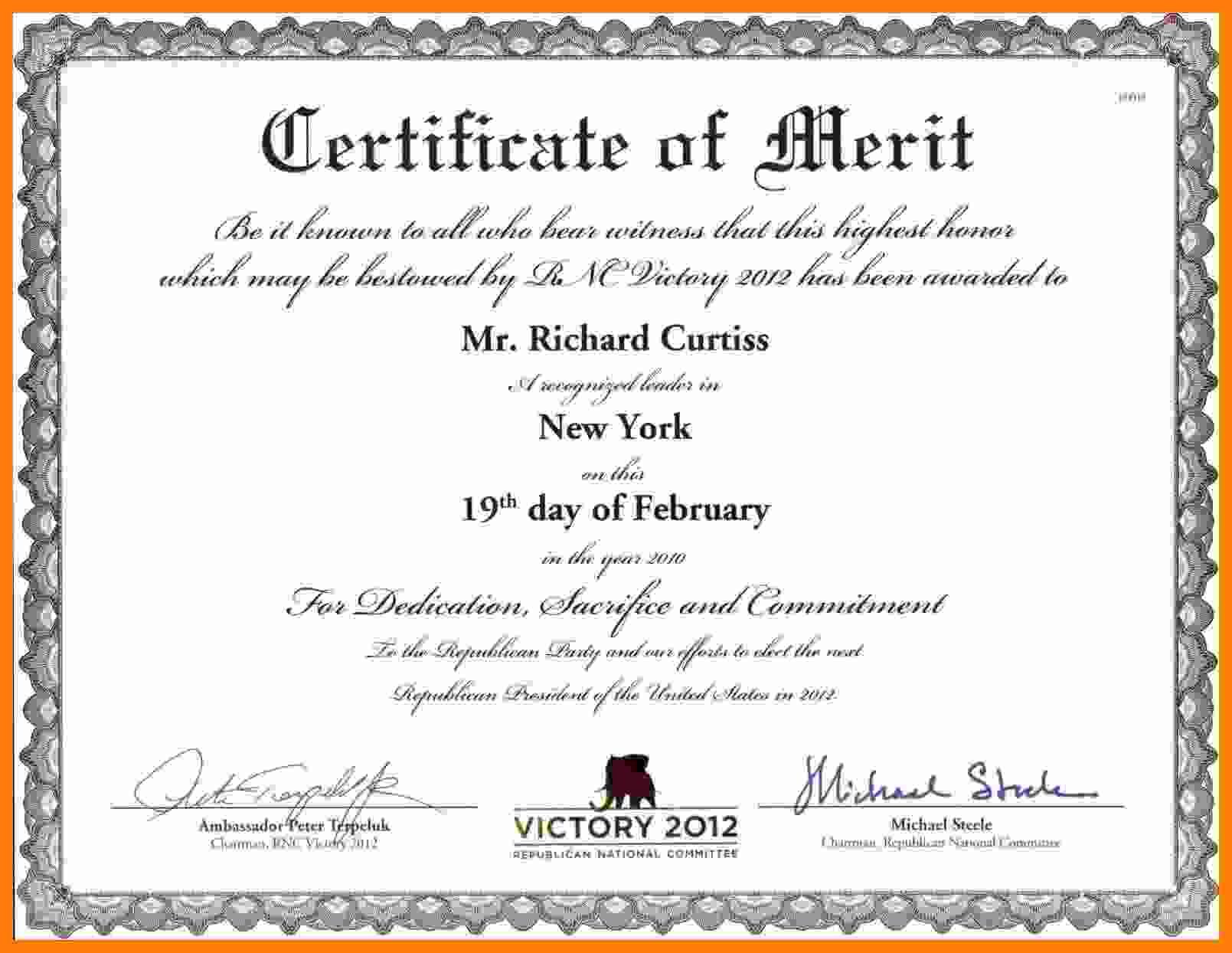 Certificate Of Merit Certificate Of