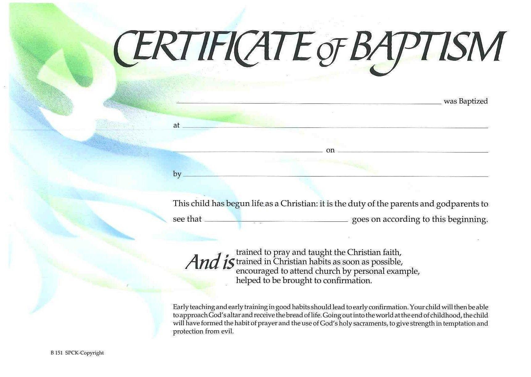 Water Baptism Certificate