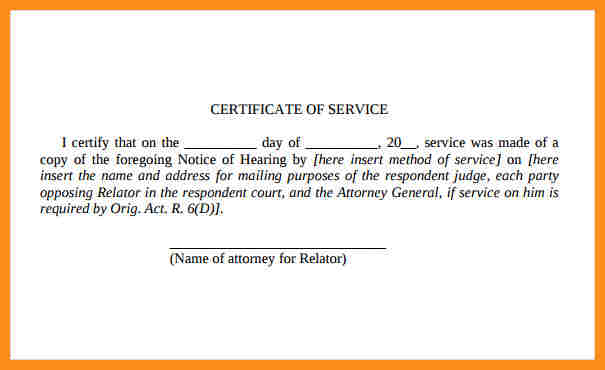 Free Certificate Of Service Sample Template