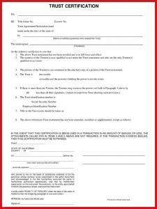 Certificate of Trust California