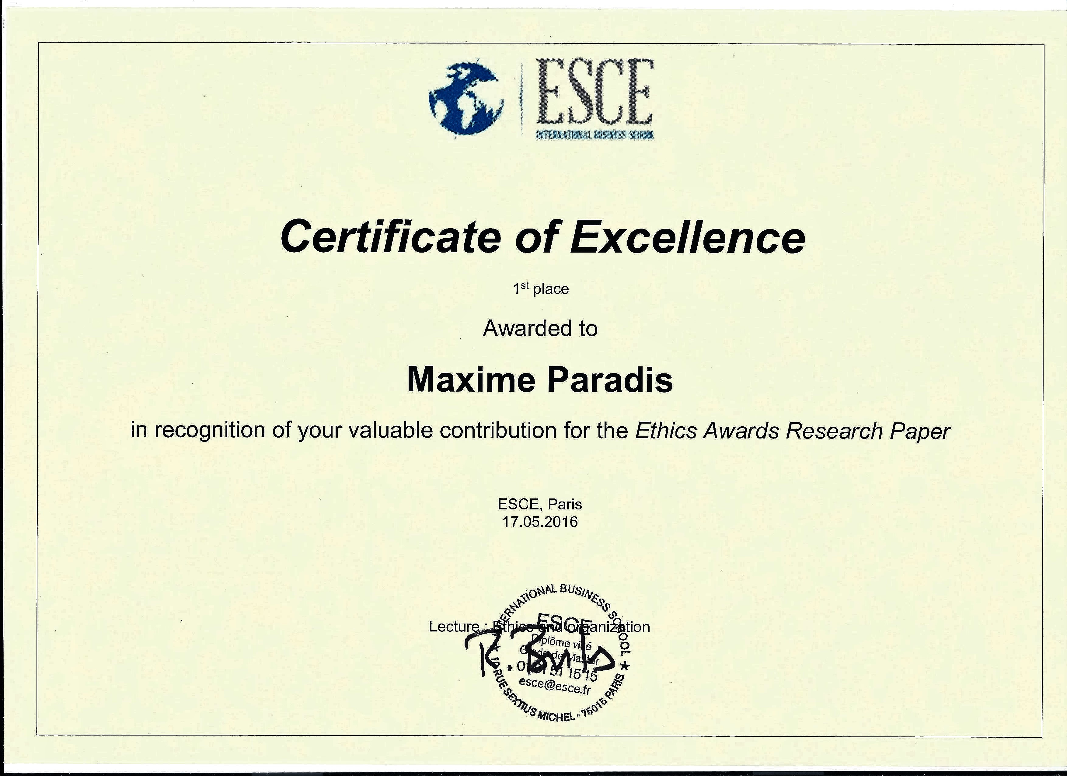 Certificate of Excellence Template