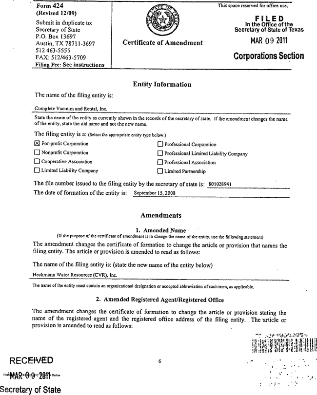 Certificate of Amendment Texas