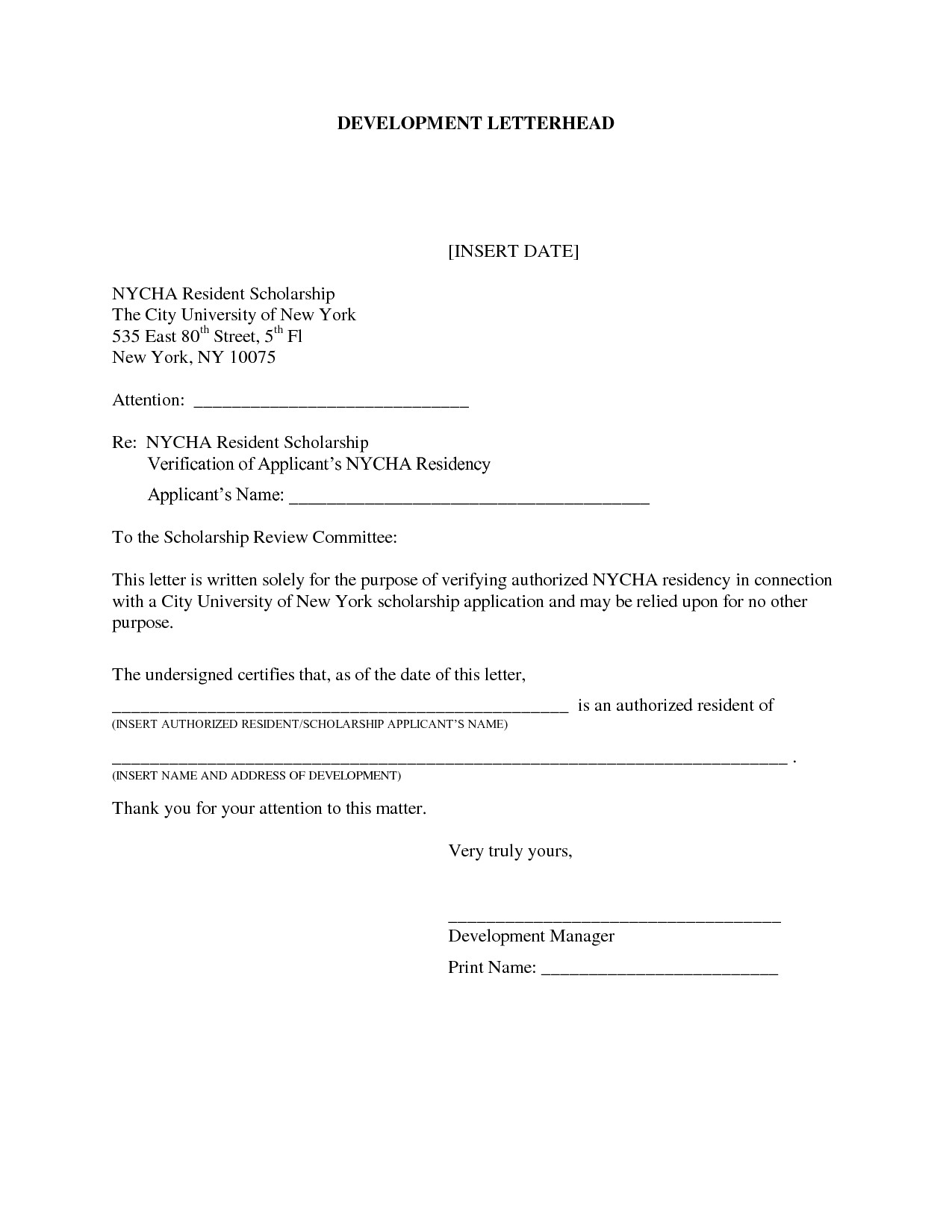 Printable Notarized Letter Of Residency Template from certificateof.com