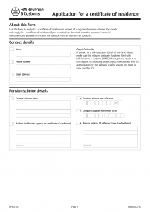 Certificate of Residence Form