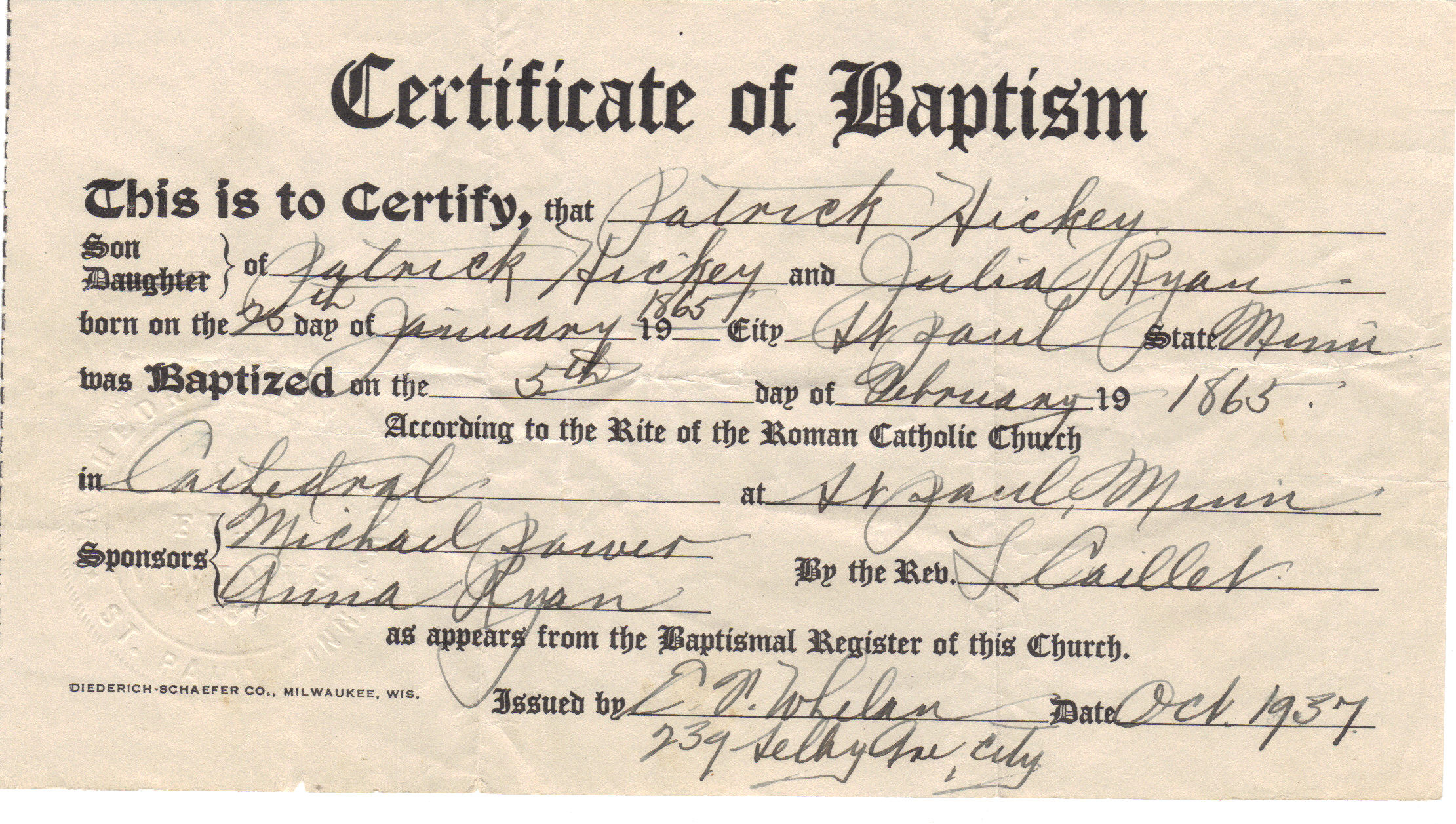 Certificate of Baptism Catholic