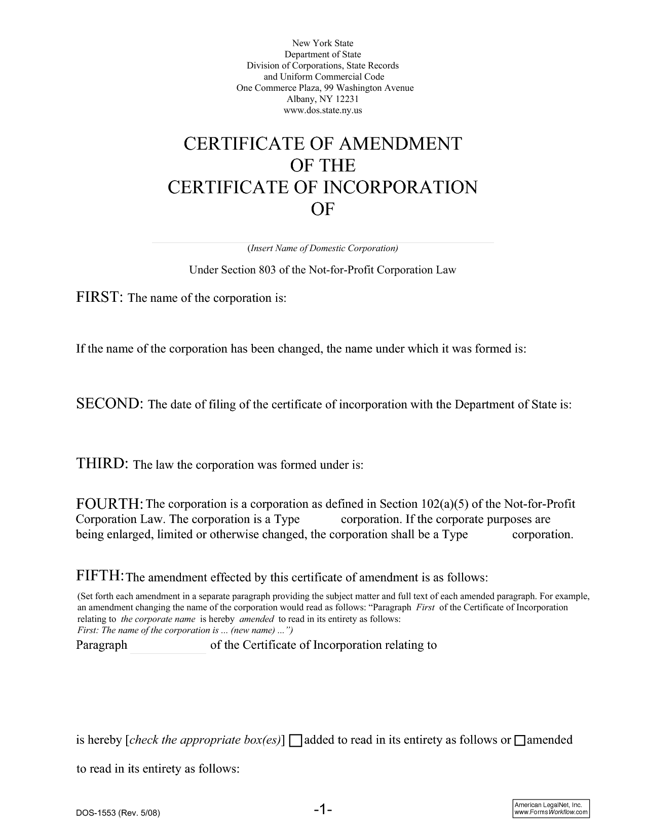 Certificate of Amendment Sample