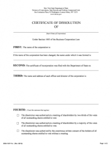 Certificate of Dissolution of Marriage NY