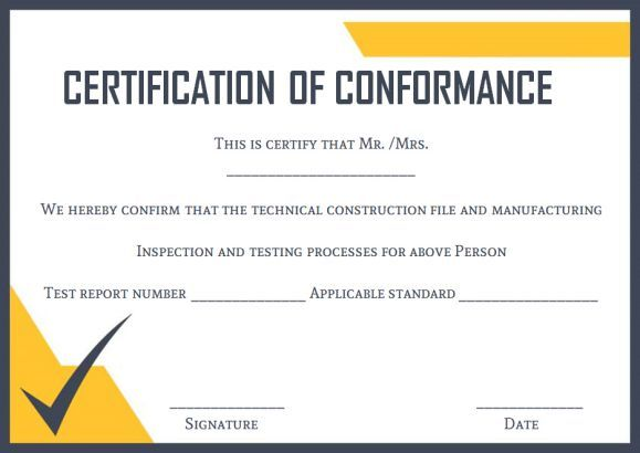 10 Free Certificate Of Conformance Certificate Of