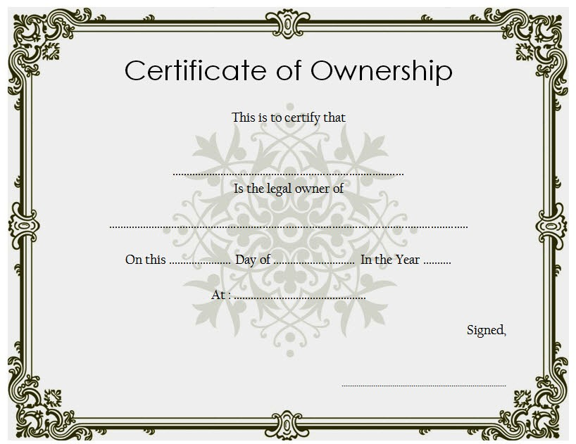 Sample Certificate of Ownership Template Form
