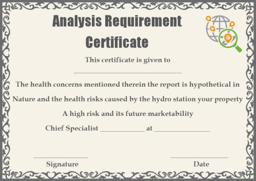 Certificate of Analysis Requirements