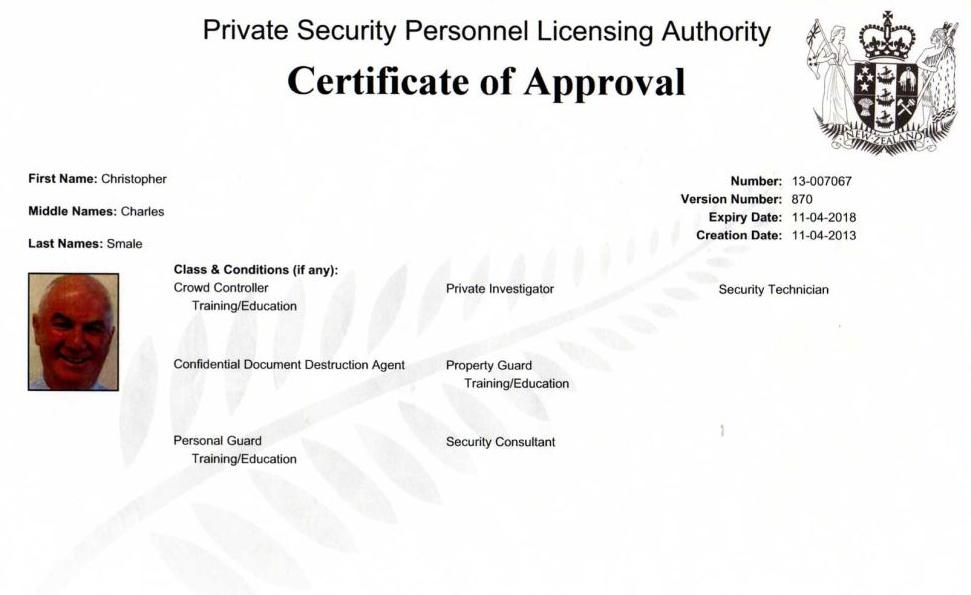 Certificate of Approval NZ