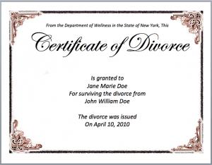 Divorce Certificate Sample