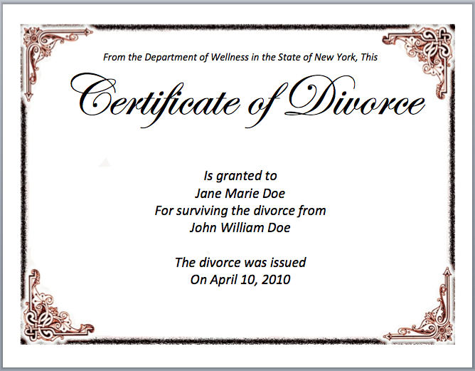 Divorce Certificate Sample