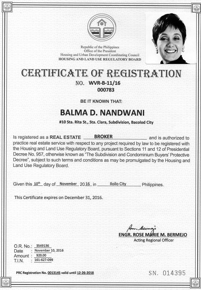 Real Estate Certificate of Registration