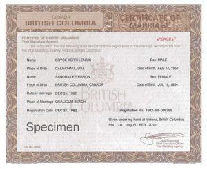 Certificate of Divorce BC