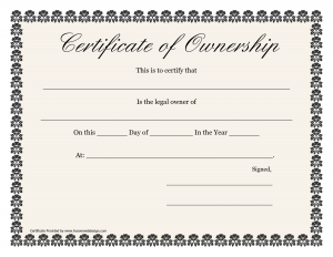 Certificate of Ownership House