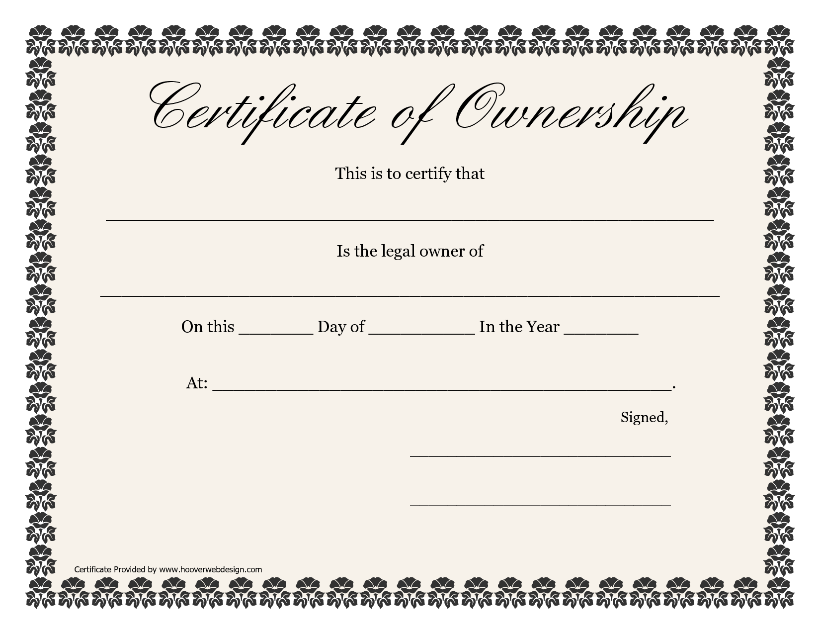 Certificate Of Ownership Templates Certificate Of