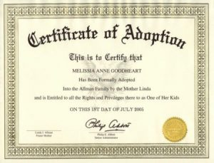 Certificate of Adoption Texas